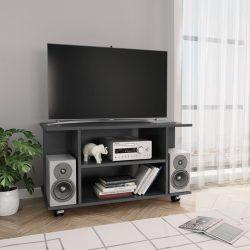 magasfényű szürke forgácslap TV-szekrény görgőkkel 80x40x40 cm