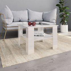 magasfényű fehér forgácslap dohányzóasztal 60 x 60 x 42 cm