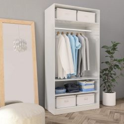 magasfényű fehér forgácslap ruhásszekrény 100 x 50 x 200 cm