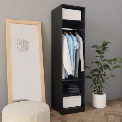 fekete forgácslap ruhásszekrény 50 x 50 x 200 cm