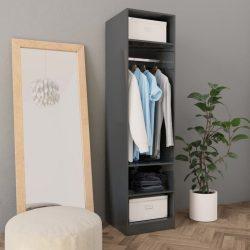 magasfényű szürke forgácslap ruhásszekrény 50 x 50 x 200 cm