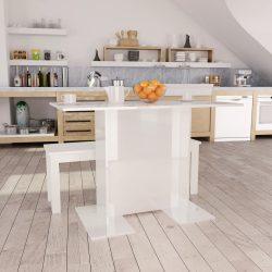 magasfényű fehér forgácslap étkezőasztal 110 x 60 x 75 cm