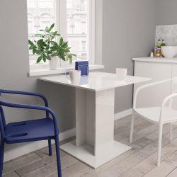 magasfényű fehér forgácslap étkezőasztal 80 x 80 x 75 cm