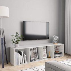 magasfényű fehér könyv-/TV-szekrény 143 x 30 x 36 cm