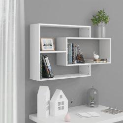 magasfényű fehér forgácslap fali polcok 104 x 20 x 60 cm