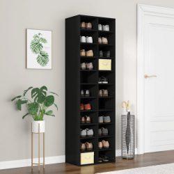 fekete forgácslap cipősszekrény 54 x 34 x 183 cm