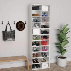 magasfényű fehér forgácslap cipősszekrény 54 x 34 x 183 cm