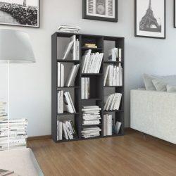 magasfényű szürke térelválasztó/könyvszekrény 100 x 24 x 140 cm