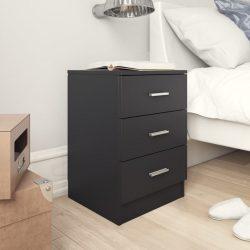 fekete forgácslap éjjeliszekrény 38 x 35 x 56 cm