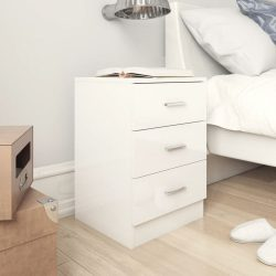 magasfényű fehér forgácslap éjjeliszekrény 38 x 35 x 56 cm