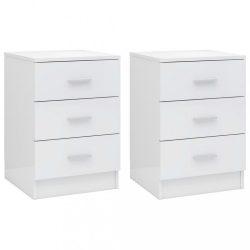 2 db magasfényű fehér forgácslap éjjeliszekrény 38 x 35 x 56 cm