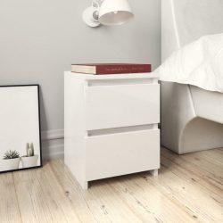 2 db magasfényű fehér forgácslap éjjeliszekrény 30 x 30 x 40 cm