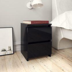 2 db magasfényű fekete forgácslap éjjeliszekrény 30x30x40 cm