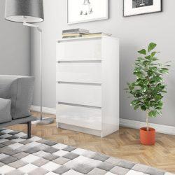 magasfényű fehér forgácslap tálalószekrény 60 x 35 x 98,5 cm