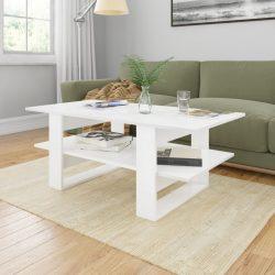 magasfényű fehér forgácslap dohányzóasztal 110 x 55 x 42 cm