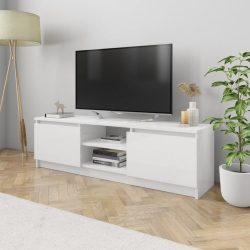 magasfényű fehér forgácslap TV szekrény 120 x 30 x 35,5 cm