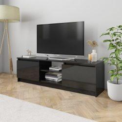 magasfényű fekete forgácslap TV szekrény 120 x 30 x 35,5 cm