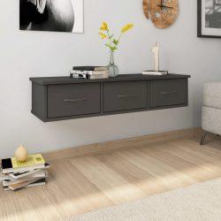 szürke falra szerelhető fiókos polc 90 x 26 x 18,5 cm