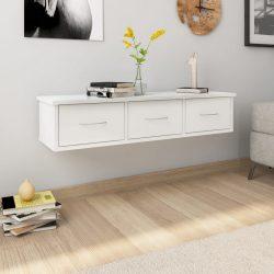 magasfényű fehér falra szerelhető forgácslap fiókos polc 88x26x18,5 cm