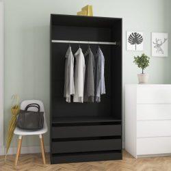 fekete forgácslap ruhásszekrény 100 x 50 x 200 cm