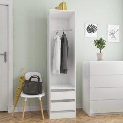 magasfényű fehér forgácslap fiókos ruhásszekrény 50x50x200 cm
