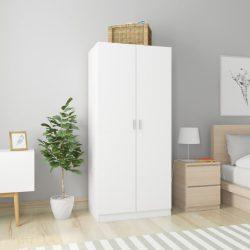 fehér forgácslap ruhásszekrény 80 x 52 x 180 cm