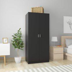 fekete forgácslap ruhásszekrény 80 x 52 x 180 cm