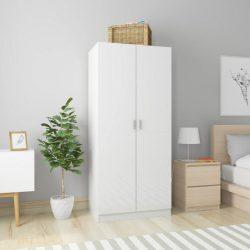 magasfényű fehér forgácslap ruhásszekrény 80 x 52 x 180 cm