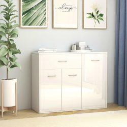 magasfényű fehér forgácslap tálalószekrény 88 x 30 x 70 cm