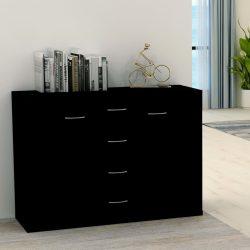fekete forgácslap tálalószekrény 88 x 30 x 65 cm