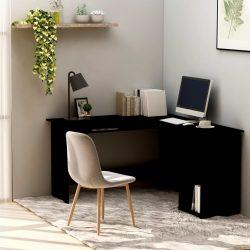 fekete forgácslap L-alakú sarok-íróasztal 120 x 140 x 75 cm