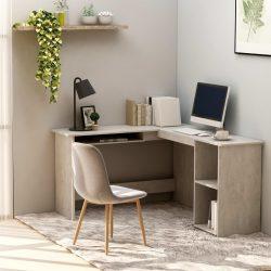 betonszürke forgácslap L-alakú sarok-íróasztal 120x140x75 cm