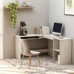 fehér magasfényű L-alakú sarok-íróasztal 120 x 140 x 75 cm