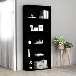 5 szintes fekete forgácslap könyvszekrény 80 x 30 x 189 cm