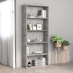 5 szintes betonszürke forgácslap könyvszekrény 80 x 30 x 189 cm