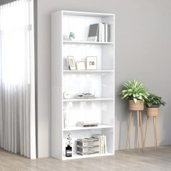 5 szintes fényes fehér forgácslap könyvszekrény 80x30x189 cm