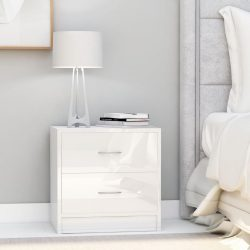 magasfényű fehér forgácslap éjjeliszekrény 40 x 30 x 40 cm