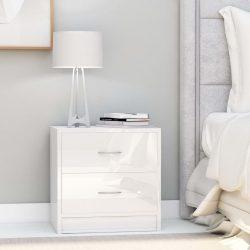 2 db magasfényű fehér forgácslap éjjeliszekrény 40 x 30 x 40 cm