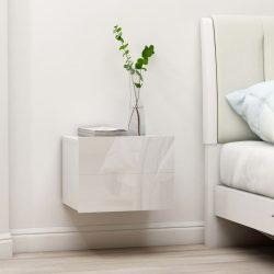 magasfényű fehér forgácslap éjjeliszekrény 40 x 30 x 30 cm