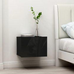 2 db magasfényű fekete forgácslap éjjeliszekrény 40x30x30 cm