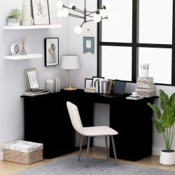 fekete forgácslap sarok íróasztal 145 x 100 x 76 cm