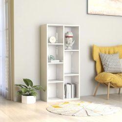 magasfényű fehér forgácslap könyvszekrény 50 x 25 x 106 cm