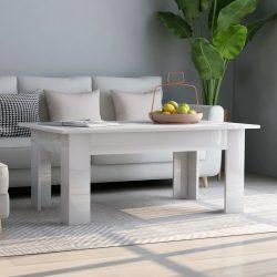 magasfényű fehér forgácslap dohányzóasztal 100 x 60 x 42 cm