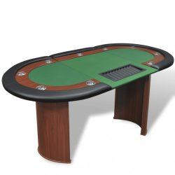 10 személyes, zöld pókerasztal osztó résszel és zsetontálcával