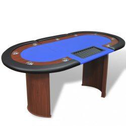10 személyes, kék pókerasztal osztó résszel és zsetontálcával