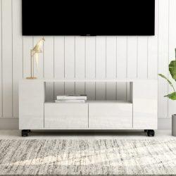 magasfényű fehér forgácslap TV-szekrény 120 x 30 x 43 cm