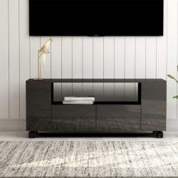 magasfényű szürke forgácslap TV-szekrény 120 x 35 x 43 cm