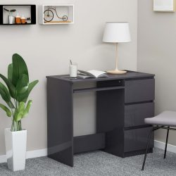 szürke magasfényű forgácslap íróasztal 90 x 45 x 76 cm