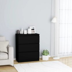 fekete forgácslap tálalószekrény 60 x 35 x 76 cm