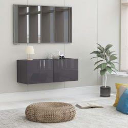 magasfényű szürke forgácslap TV-szekrény 80 x 30 x 30 cm